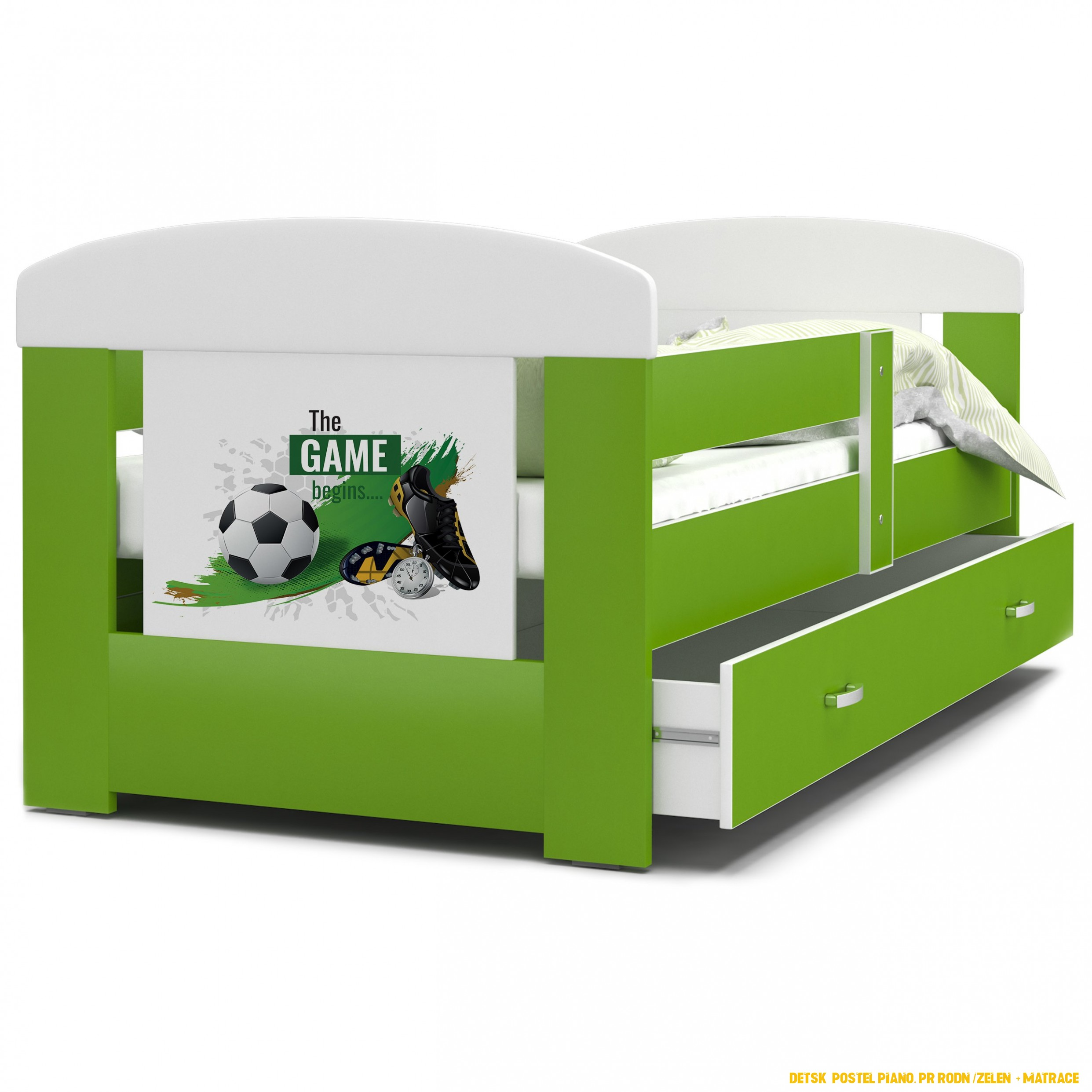 Detská posteľ so zásuvkou PHILIP - 4x4 cm - zelená / futbal