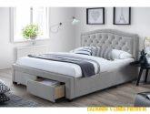 Manželská postel 4x4 cm čalouněná látkou v šedé barvě s roštem ...