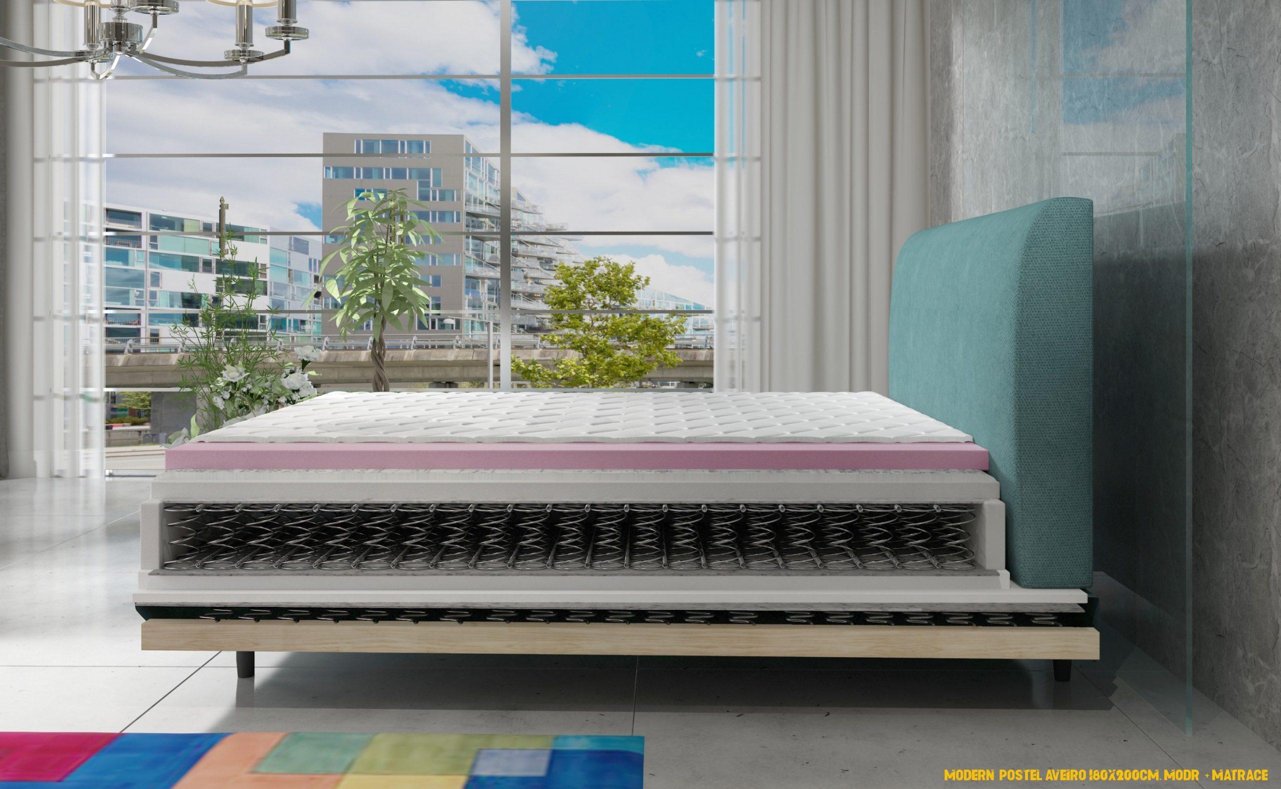 Moderní postel Aveiro 180x200cm, modrá + matrace