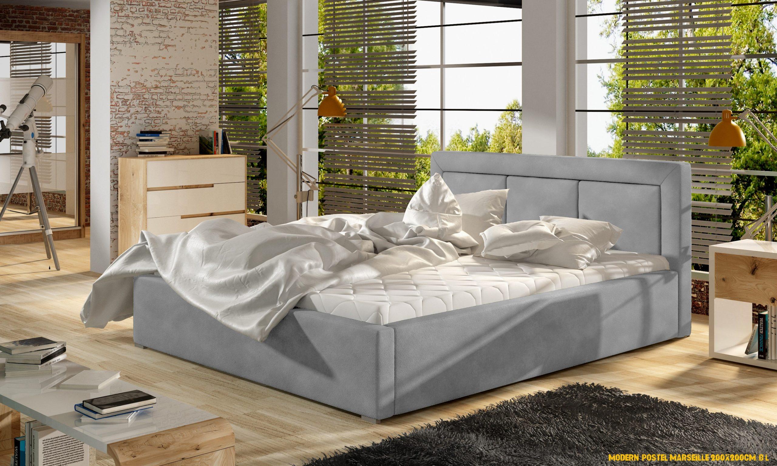 Moderní postel Marseille 4x4cm, bílá - www.nabytek-helcel.cz