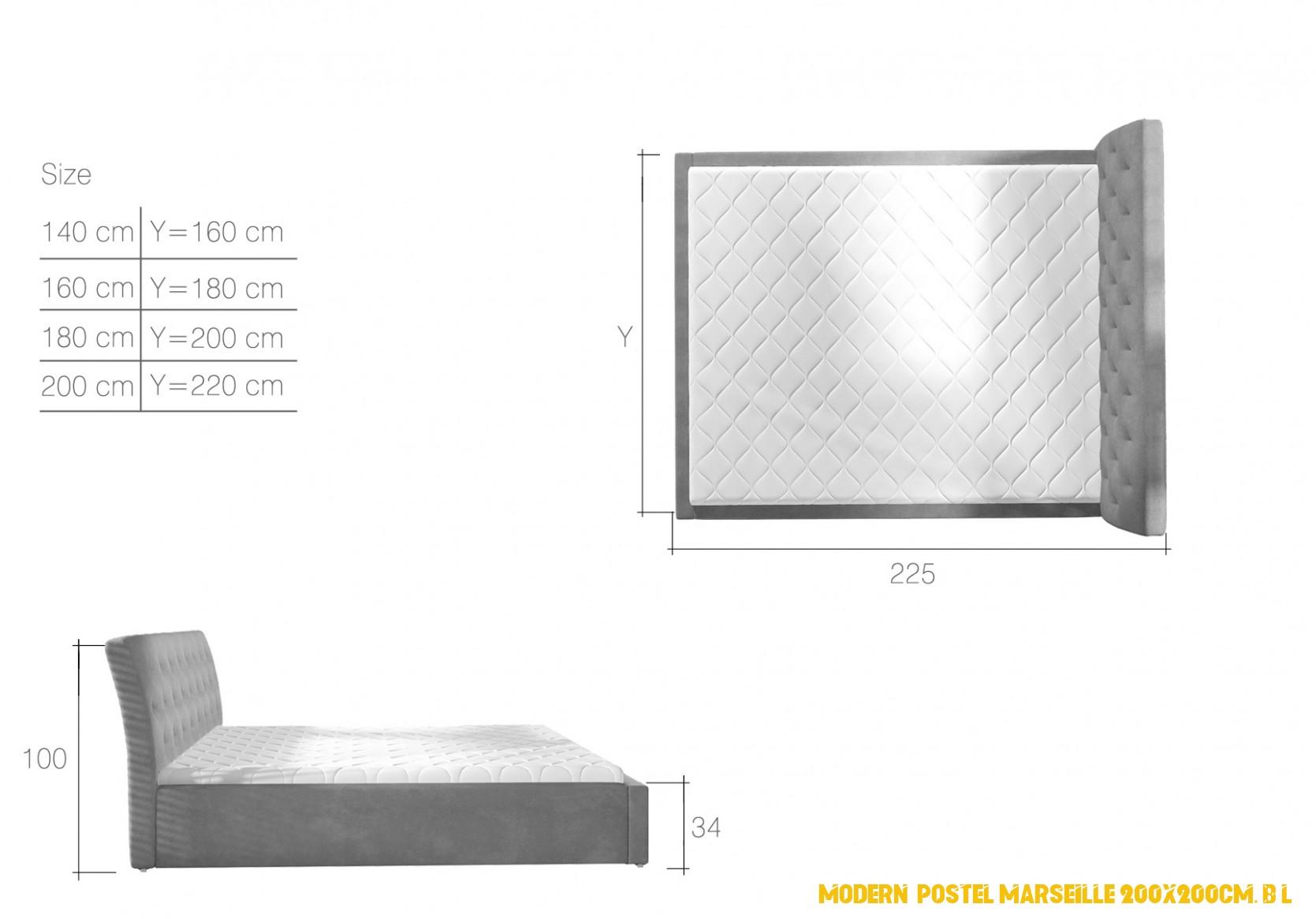 Moderní postel Marseille 200x200cm, bílá