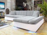 Moderní rohová sedacka Malaga, bílá / šedá