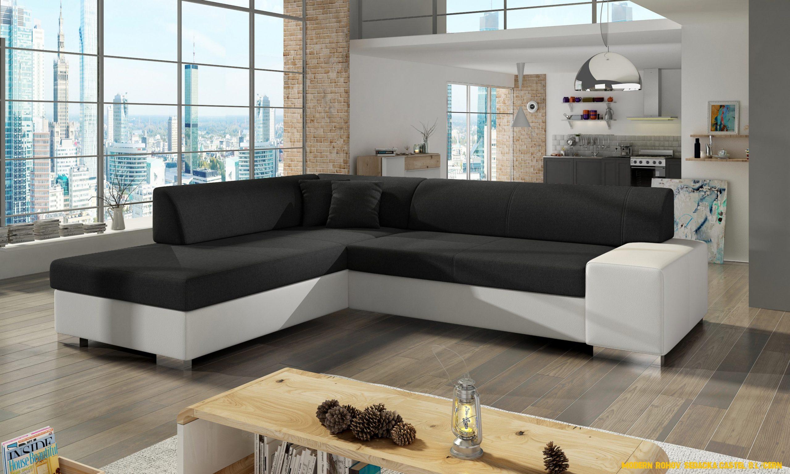 Moderní rohová sedacka Castel, bílá / cerná