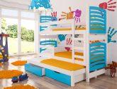 Detská patrová postel Pastel, bílá / modrá + MATRACE