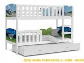 Dětská patrová postel DOBBY 4 color s potiskem + matrace + rošt ...
