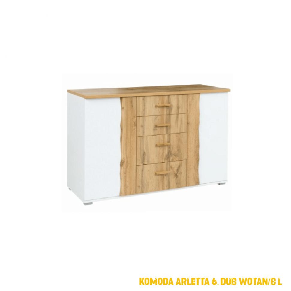 Komoda Arletta 6, dub wotan / bílá