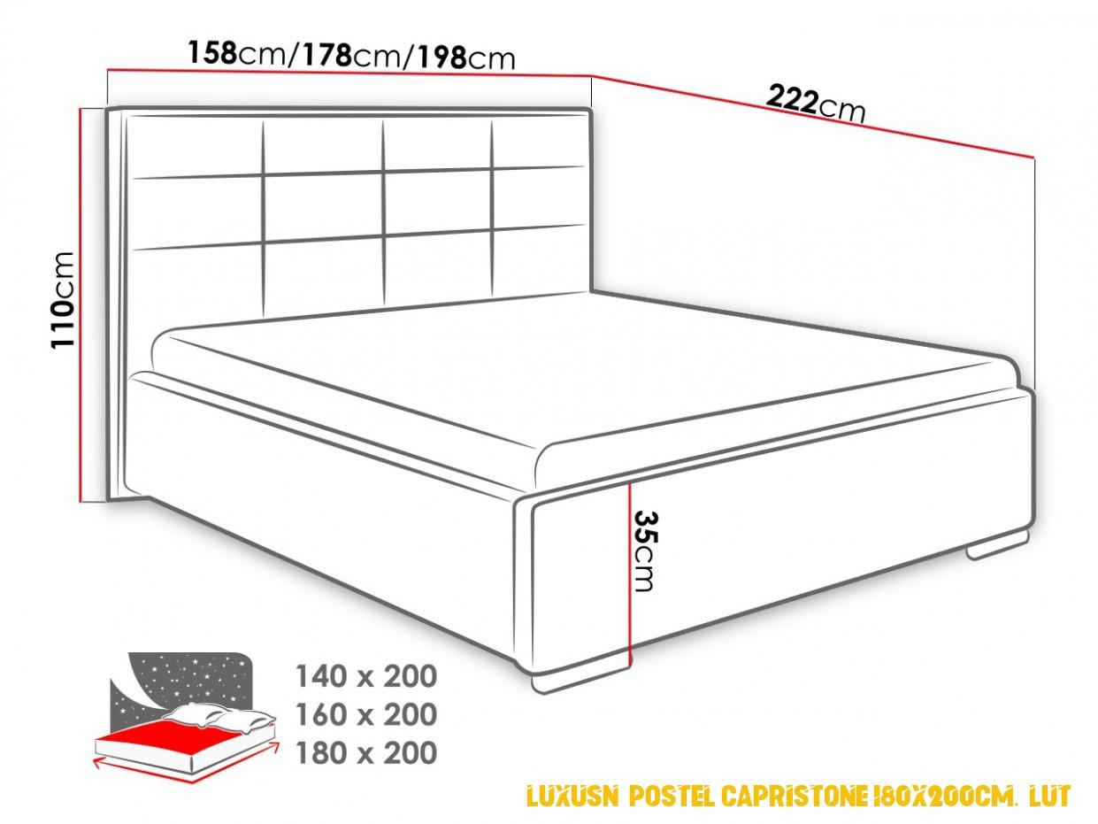 Luxusní postel Capristone 4x4cm, žlutá