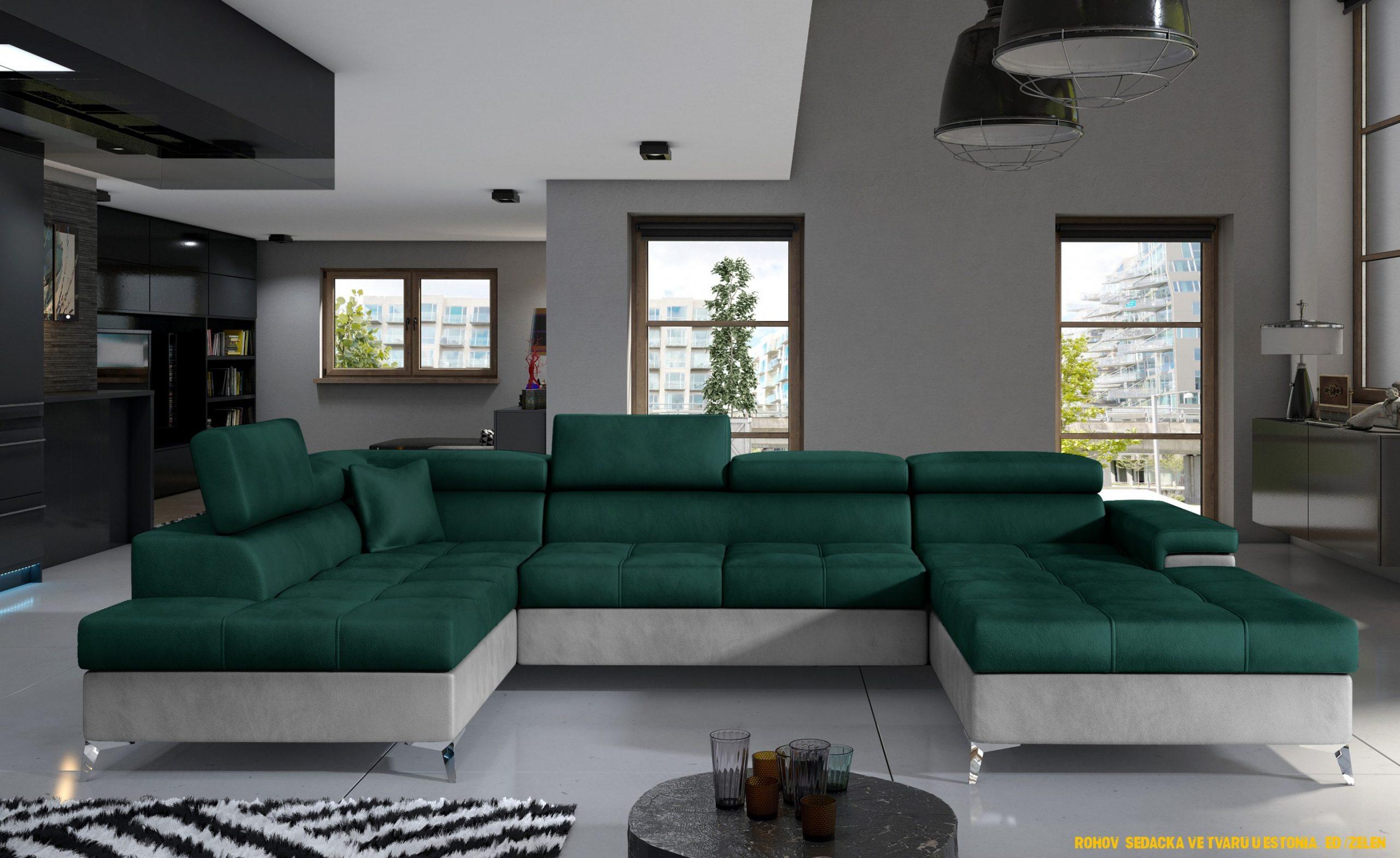 Rohová sedacka ve tvaru U Estonsko, šedá / zelená