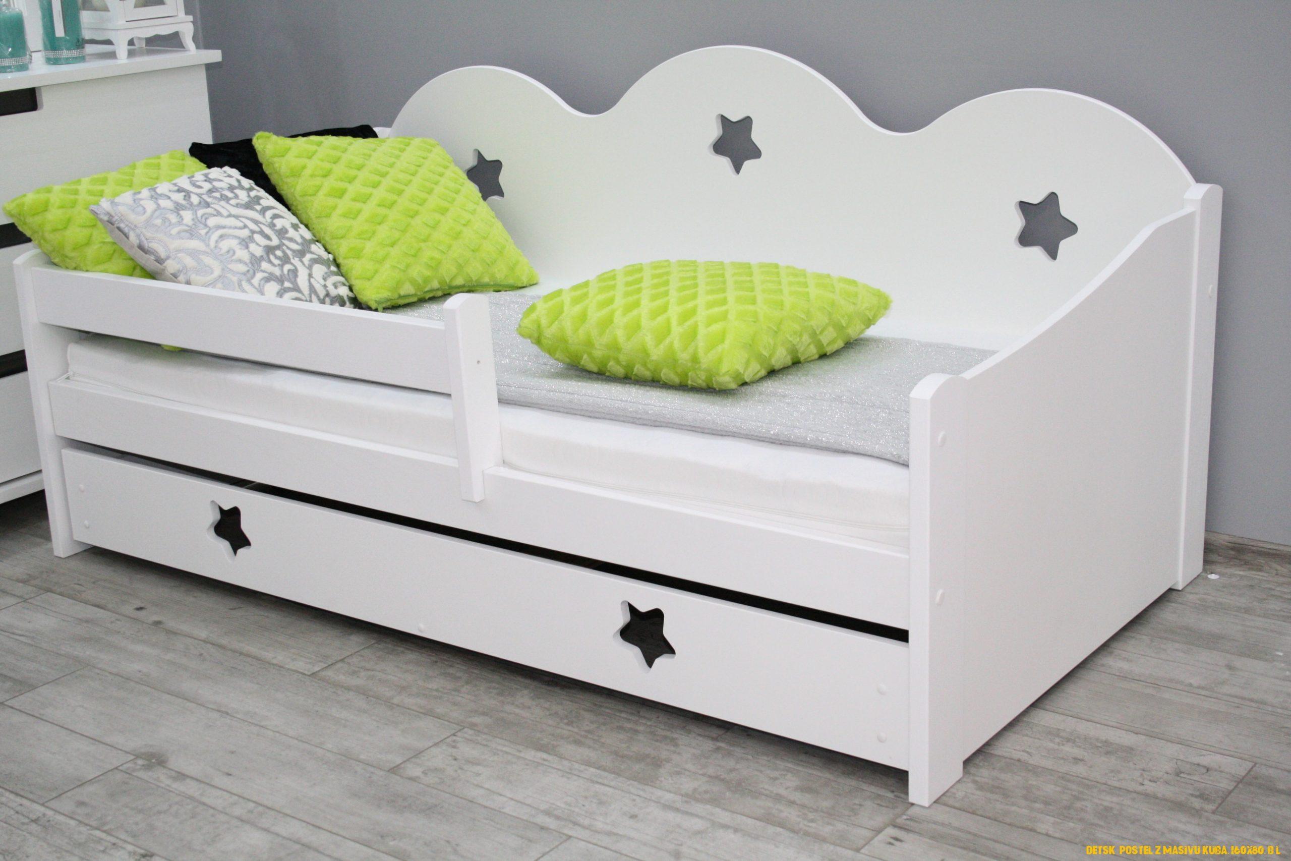 Detská postel z masivu Kuba, 160×80, bílá