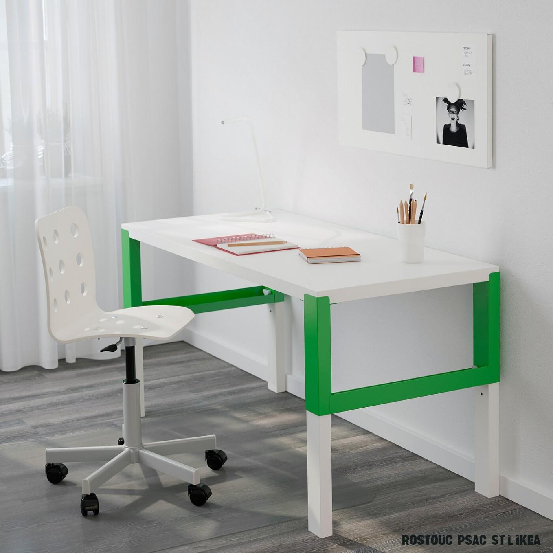 PÅHL Psací stůl - bílá/zelená 7x7 cm