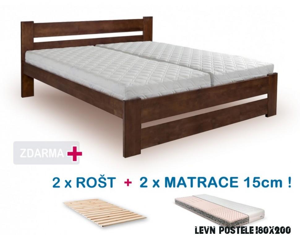 Manželská postel HANA NEW s roštem a matrací ZDARMA 6x6, masiv