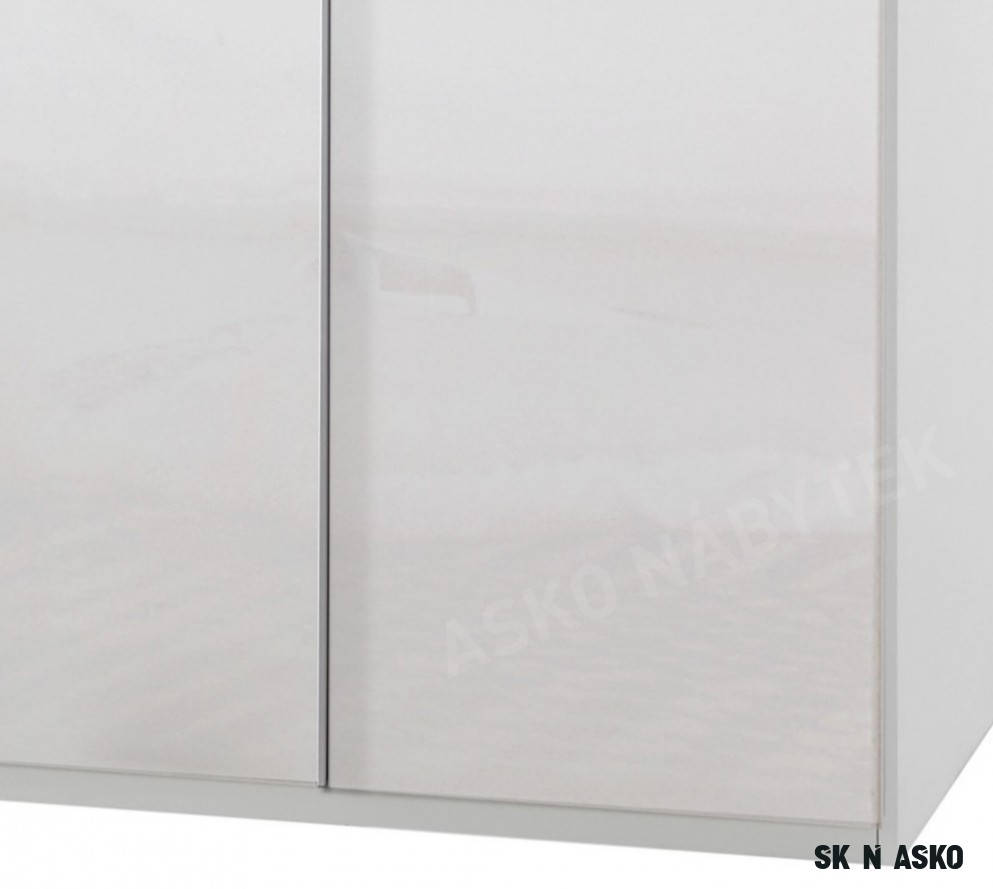 Šatní skříň New York D, 18 cm, bílá/bílý lesk