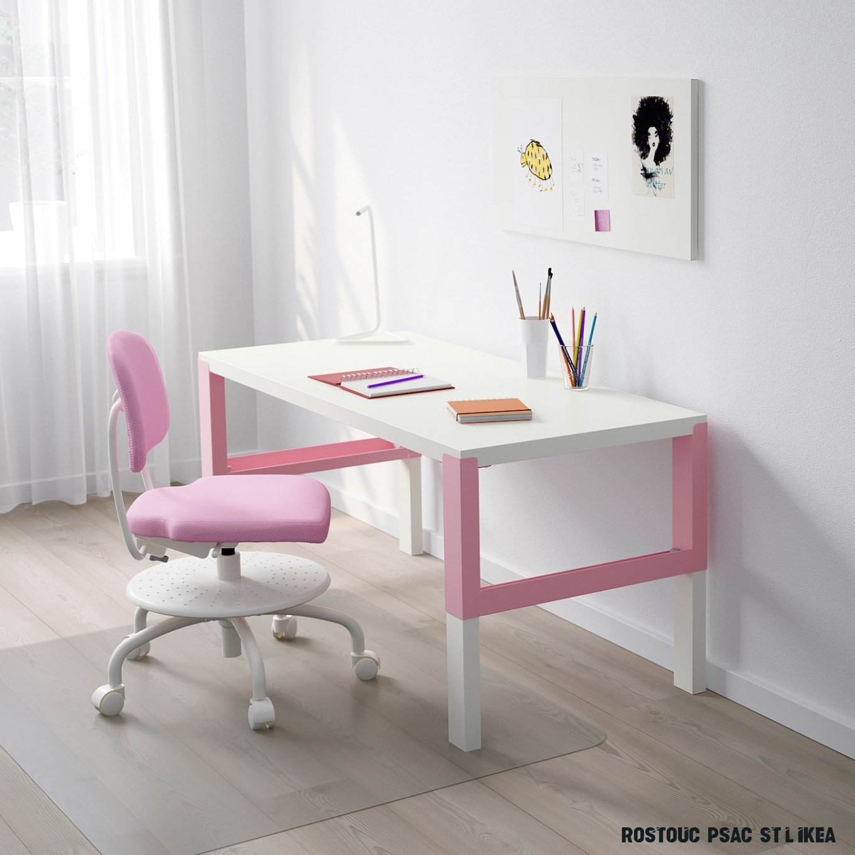 PÅHL Psací stůl - bílá/růžová 7x7 cm