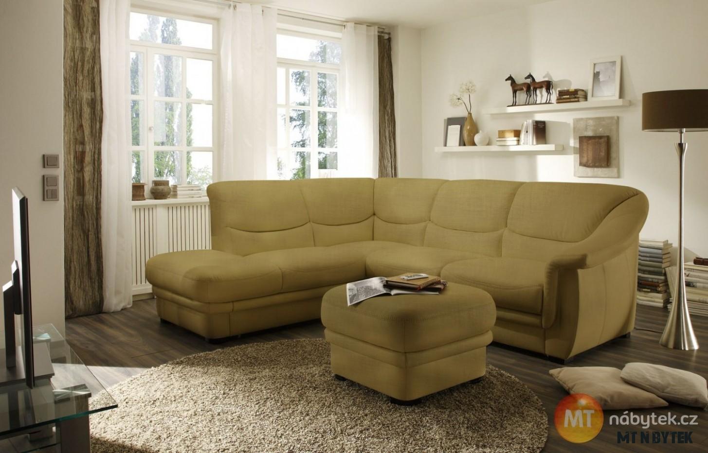 Moderní rohová sedací souprava Valeriano s taburetem  Furniture