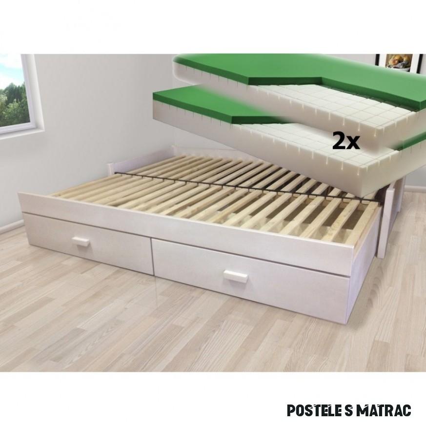 Luxusní set - Rozkládací postel z masivu Jupiter + 14x matrace Dubai