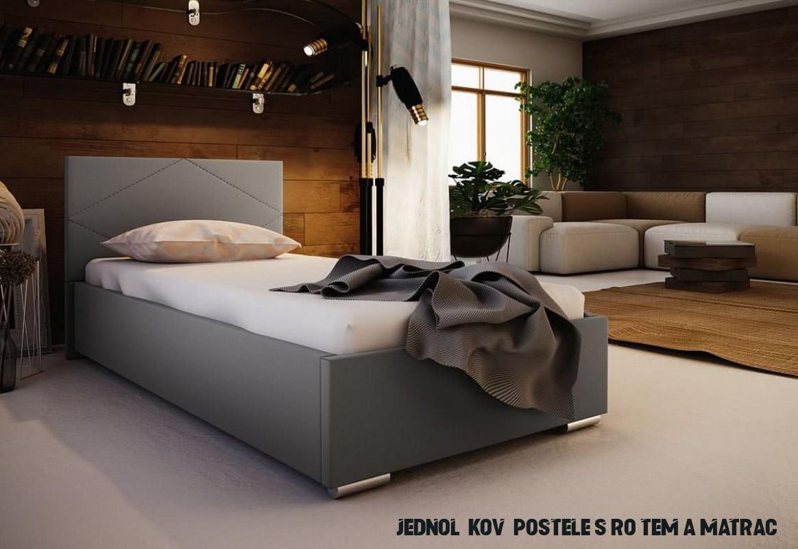 Jednolůžková čalouněná postel NASTY 14 + rošt + matrace, 14x14, Sofie 14