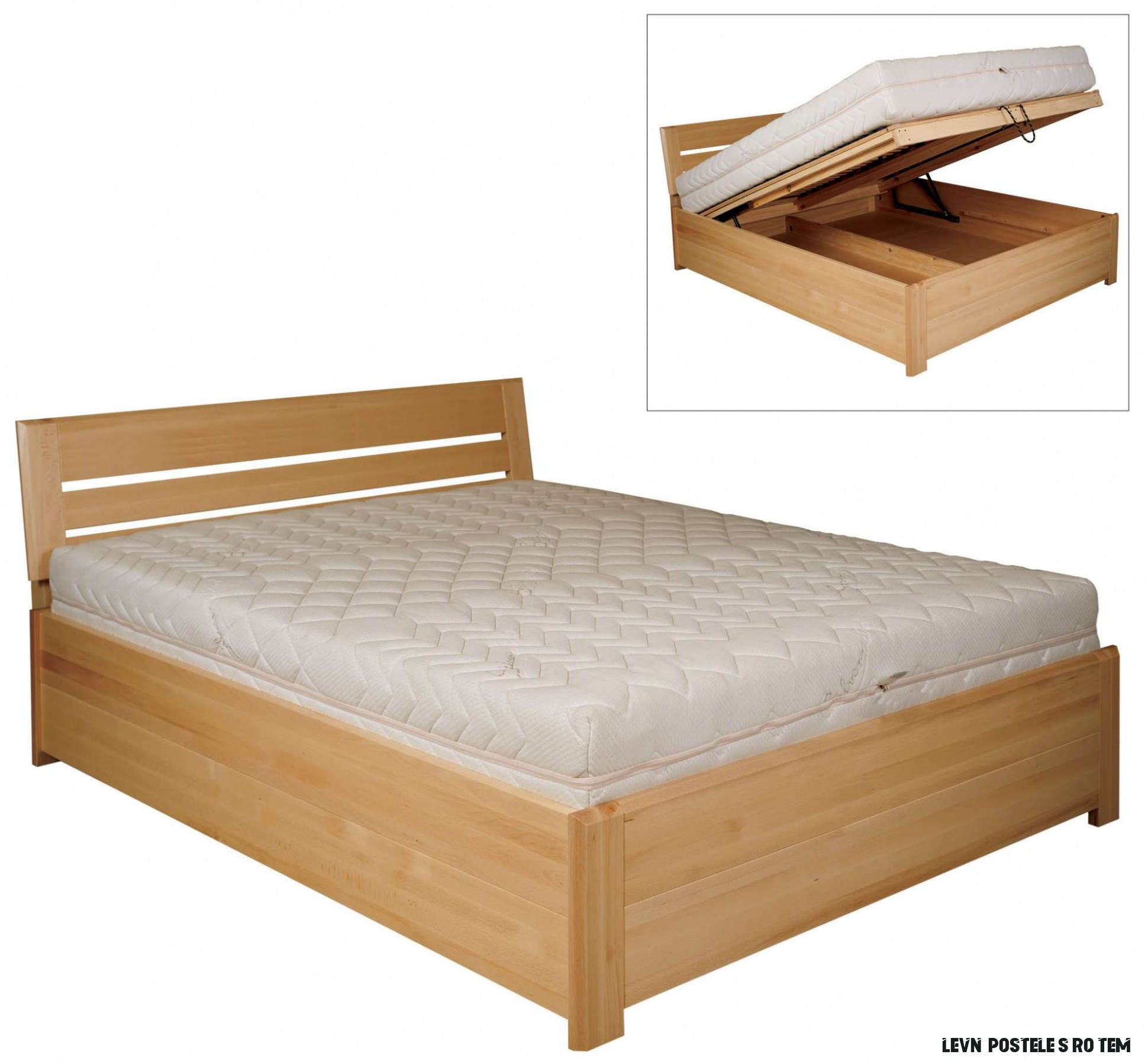 Dřevěná manželská postel s roštem a úložným prostorem buk  Zadara