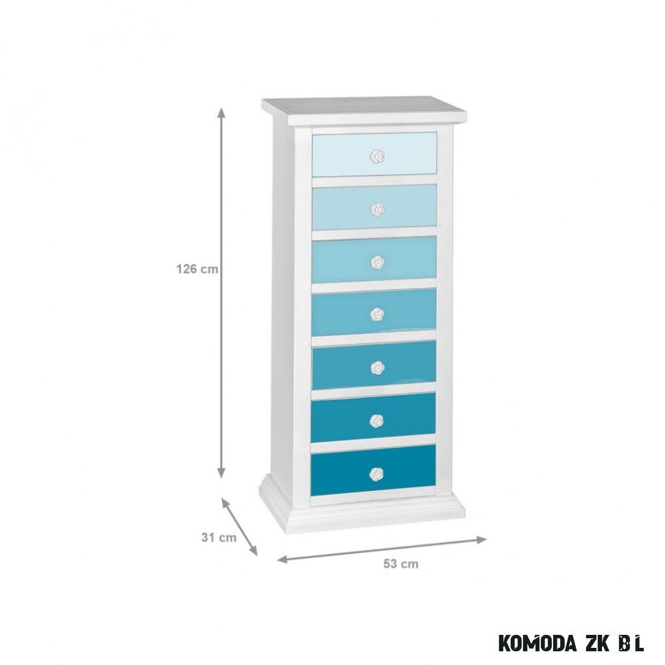 Modro-bílá úzká komoda Evergreen House Ocean