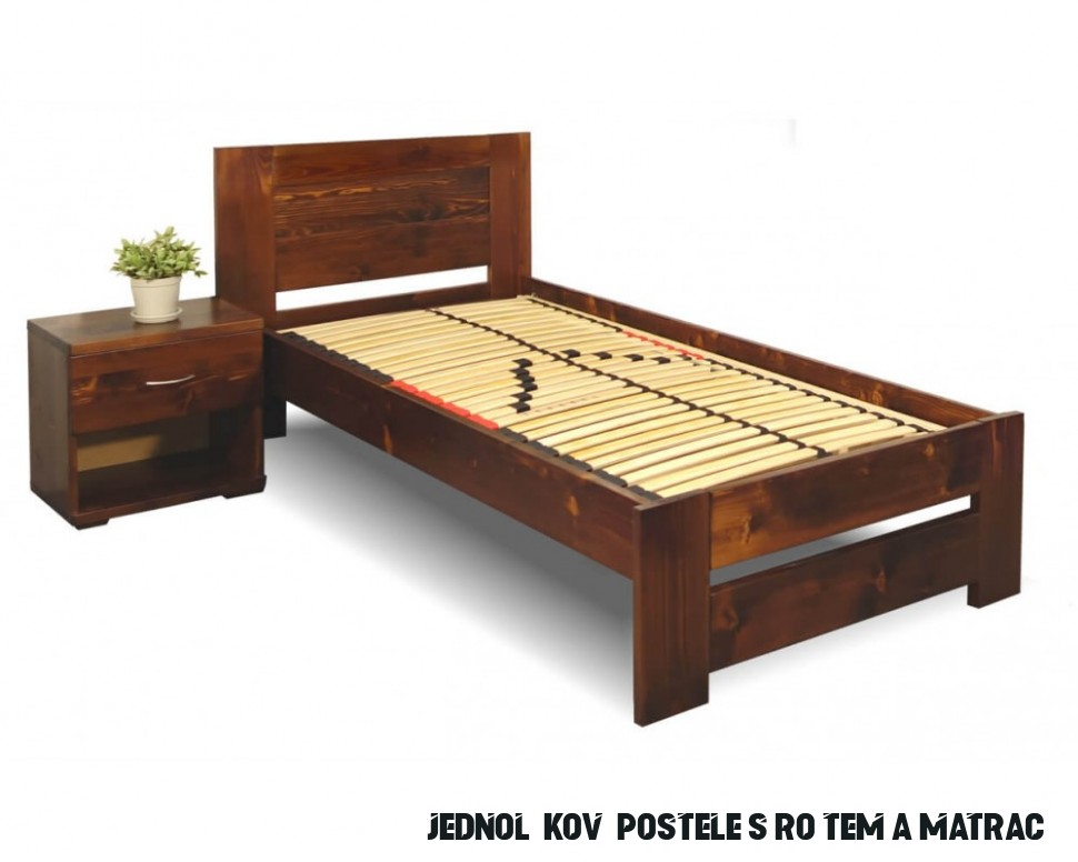 Jednolůžková postel s roštem Jirka, 14x14, 14x14, masiv smrk
