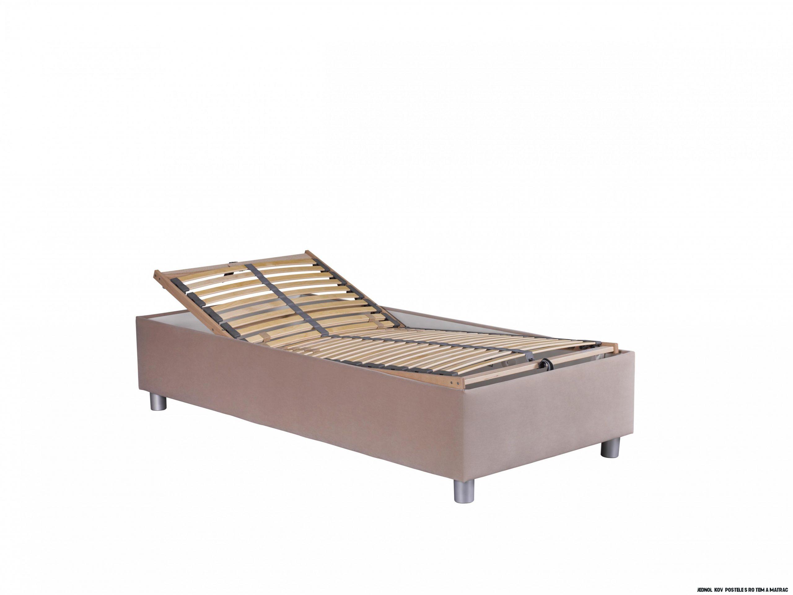 Jednolůžková postel 14 cm Blanár Neptun (hnědá) (s roštem a matrací Nelly)   HezkýNábytek.cz