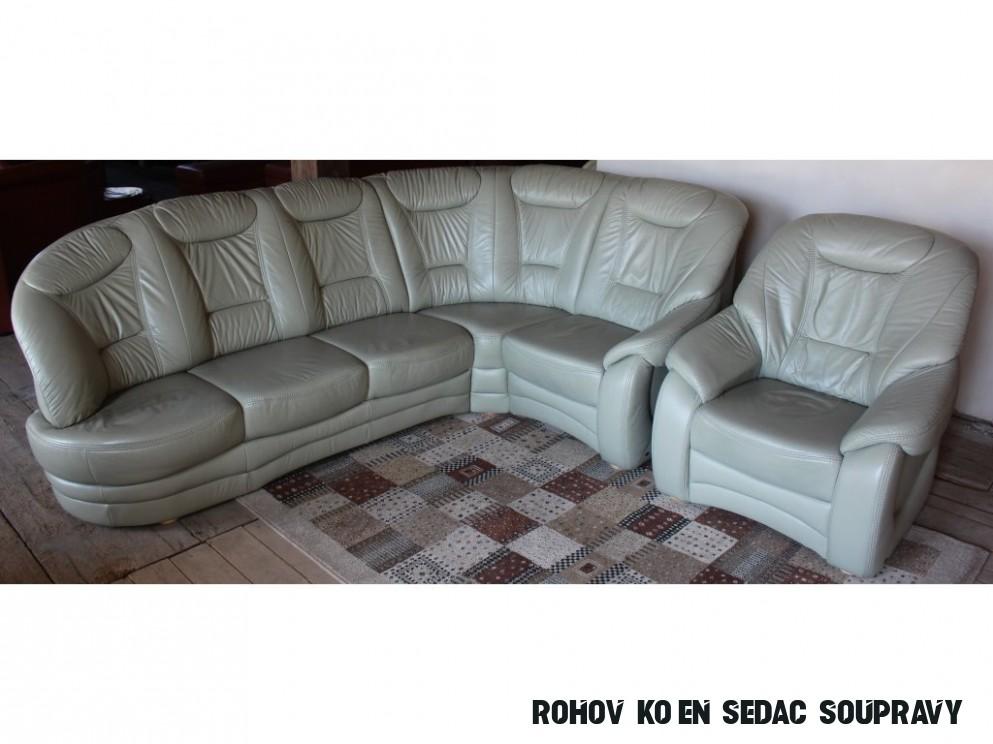 Rohová kožená sedací souprava + křeslo, 14x14cm