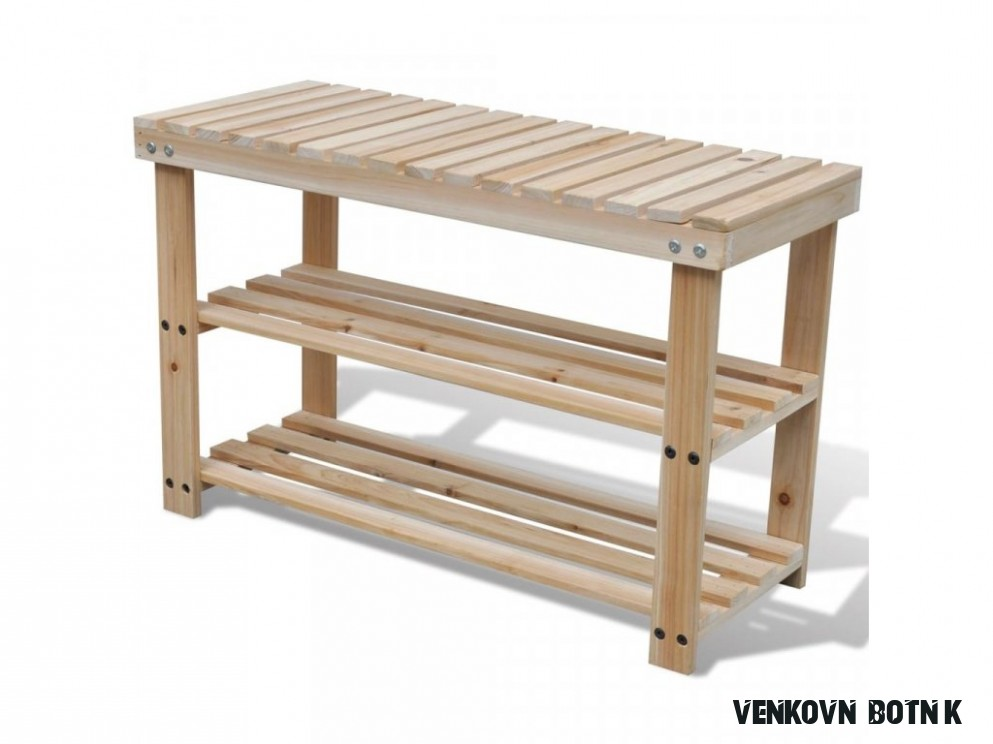 166v16 Odolný dřevěný botník s lavicí - PerfektníDomov.cz