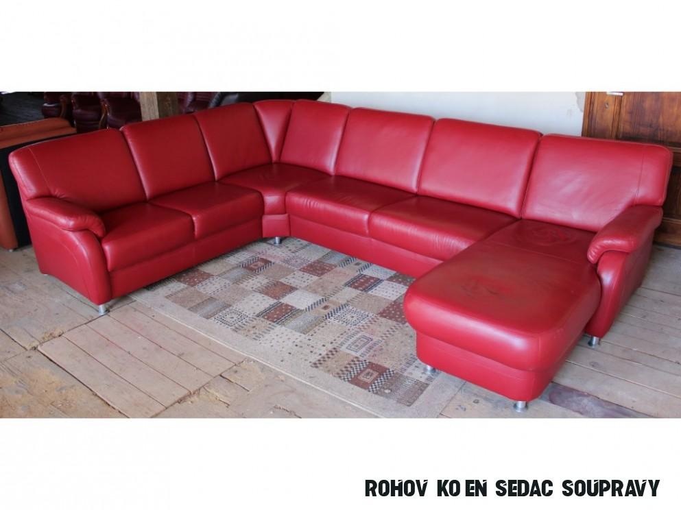 Moderní rohová kožená sedací souprava ve tvaru U, červená