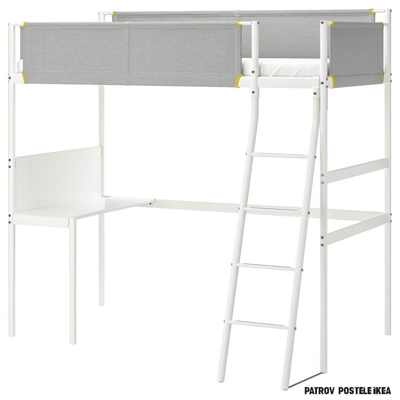 VITVAL Rám vysoké postele - bílá/světle šedá 14x14 cm