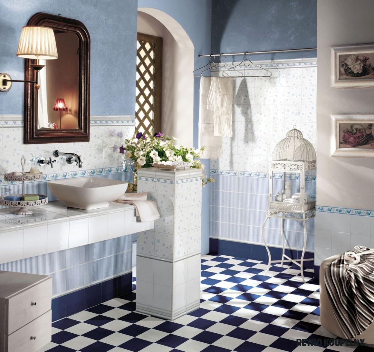 Romantica Blu  Koupelna, Retro, Podlahy