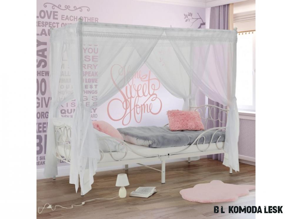 Kovová postel s nebesy, bílá, 16x16, ADELISA - Möbler