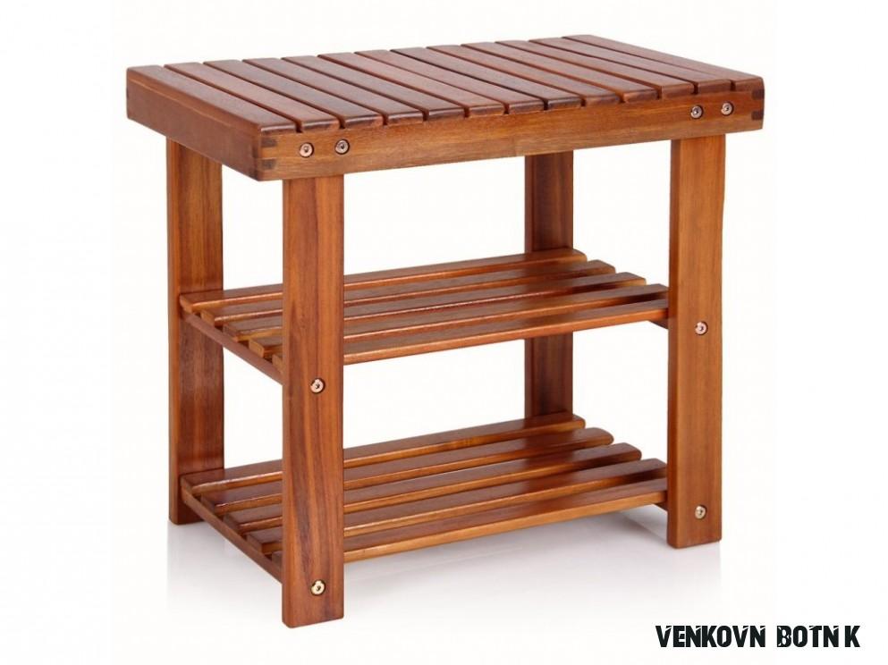 Dřevěný botník 166 cm 166v16  masivní akáciové dřevo