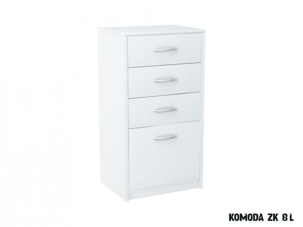 Úzká komoda se zásuvkami v bílé barvě KN19 - NAKUP-NABYTEK.cz