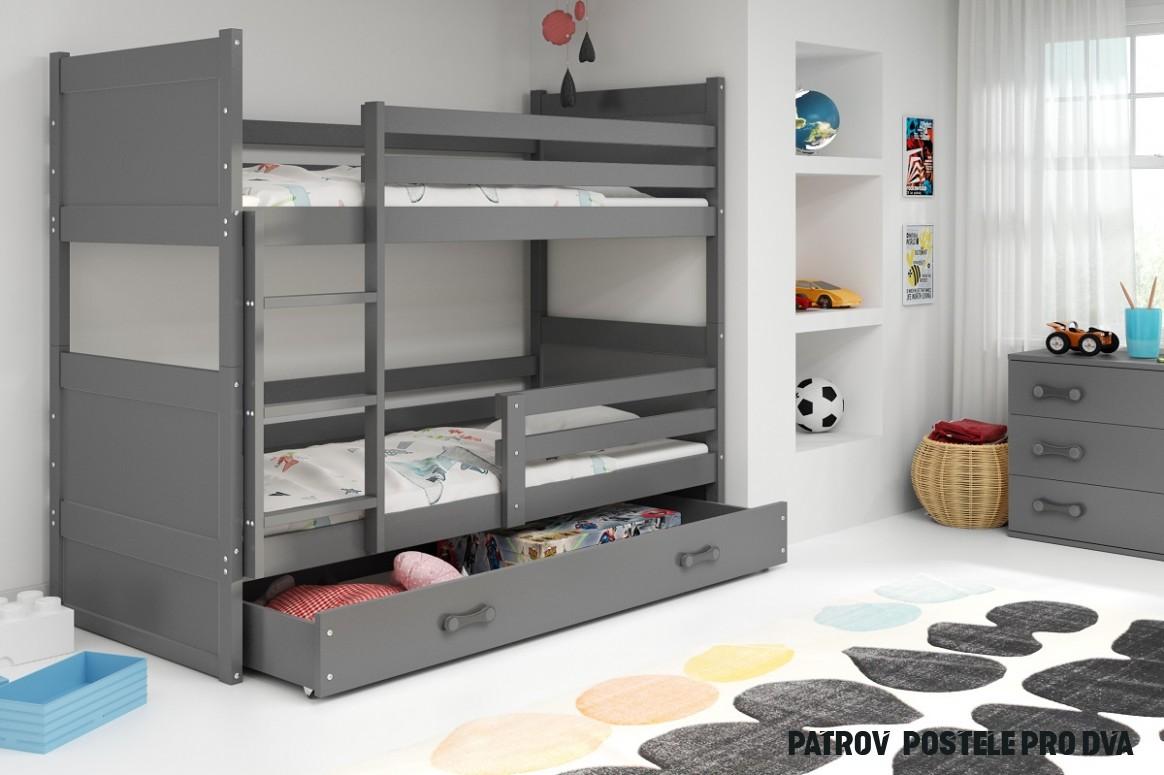 Dětská patrová postel Rico - Grafit