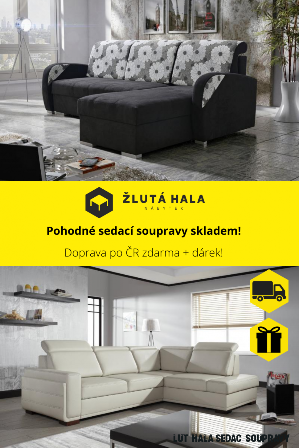 Sedací soupravy skladem! in 6  Sectional couch, Furniture, Decor
