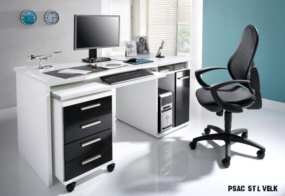 Počítačový stůl bílá/černá vysoký lesk :