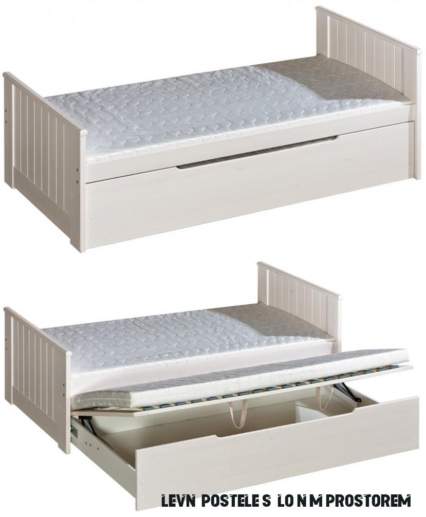 Dřevěná dětská postel Bella s přistýlkou a úložným prostorem