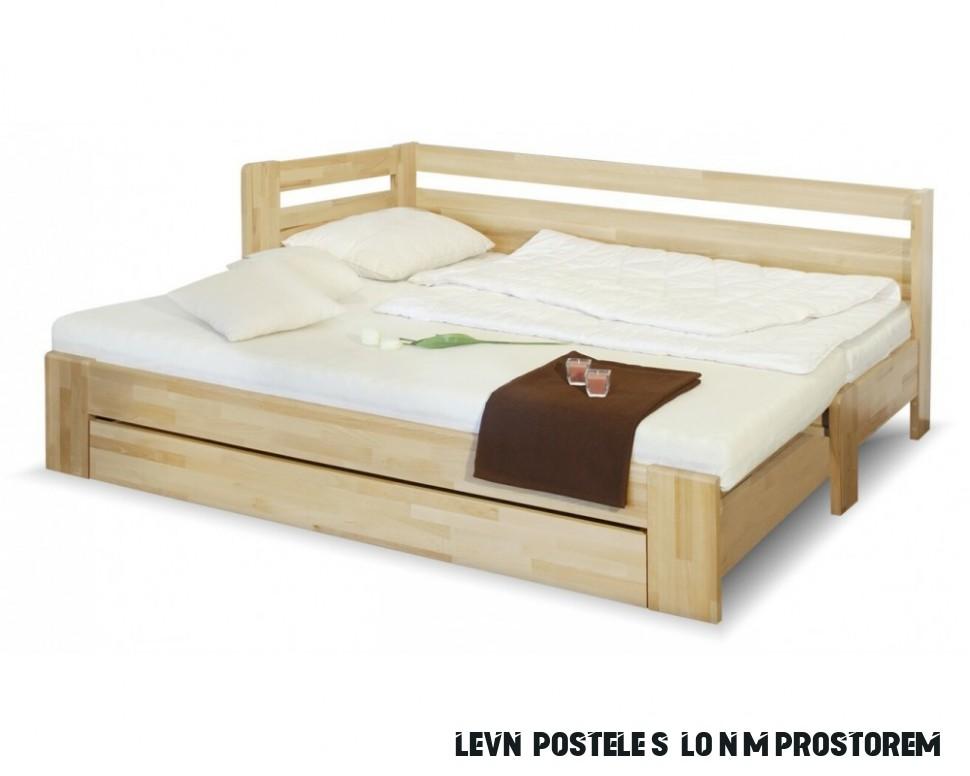 Rozkládací postel s úložným prostorem DUO LUX levá, 17x17, buk