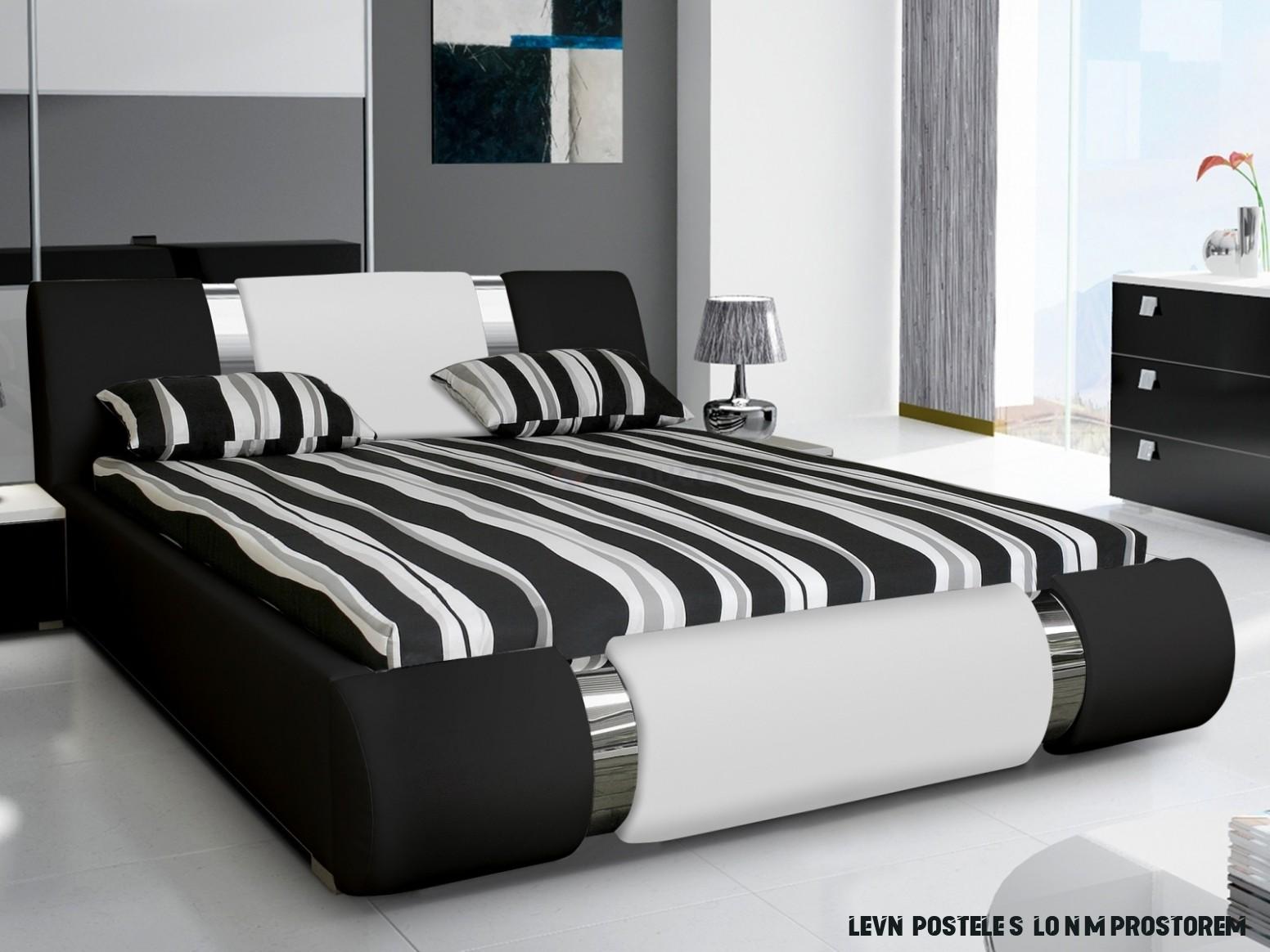 Moderní čalouněná postel CLEMENTIA 17x17 cm s roštem, úložným