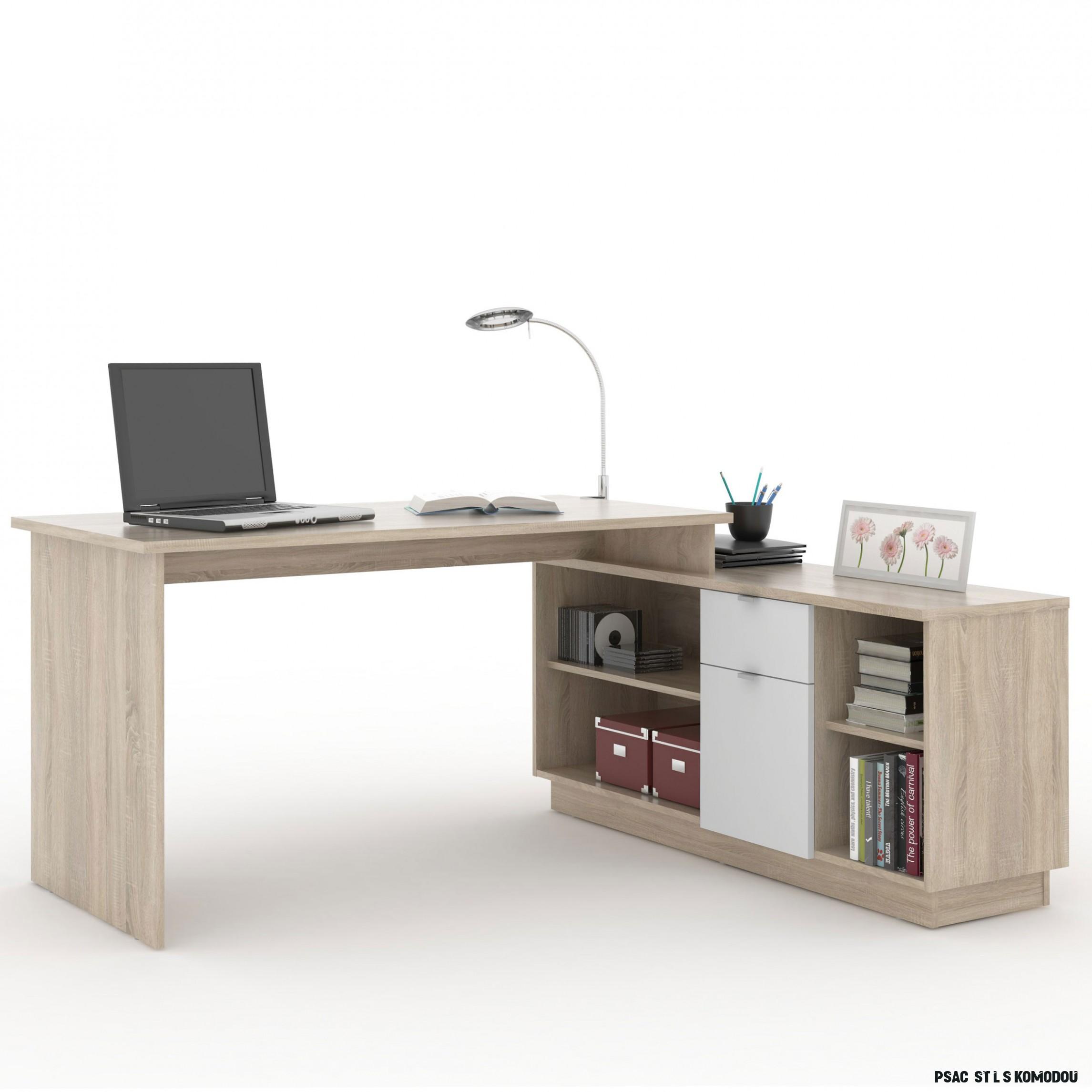 PC stůl VE 9 - PC stůl VE 9 - dub sonoma/bílá - CZ Nábytkář