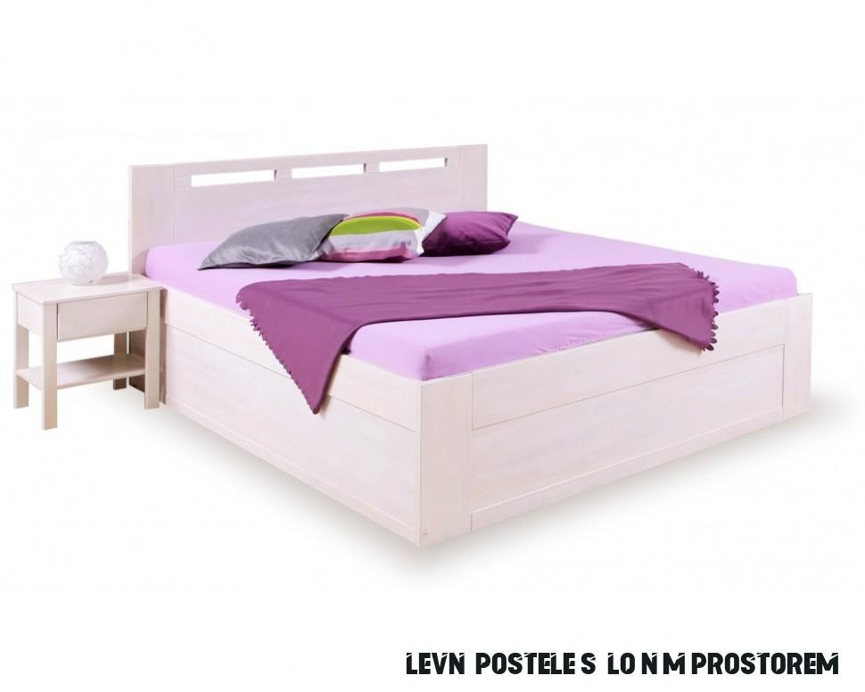 Bílá postel s úložným prostorem VALENCIA senior, masiv buk