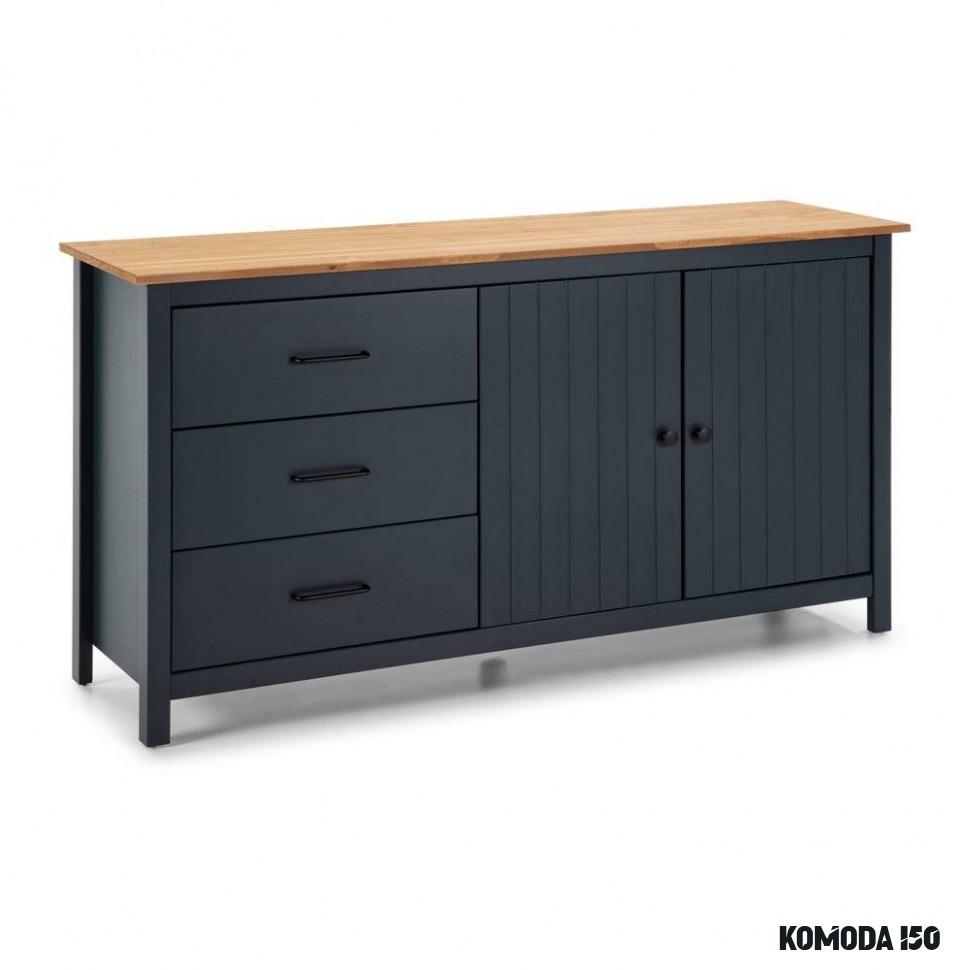 Modrá drevená komoda Marckeric Miranda, šírka 14 cm  Moderná škola