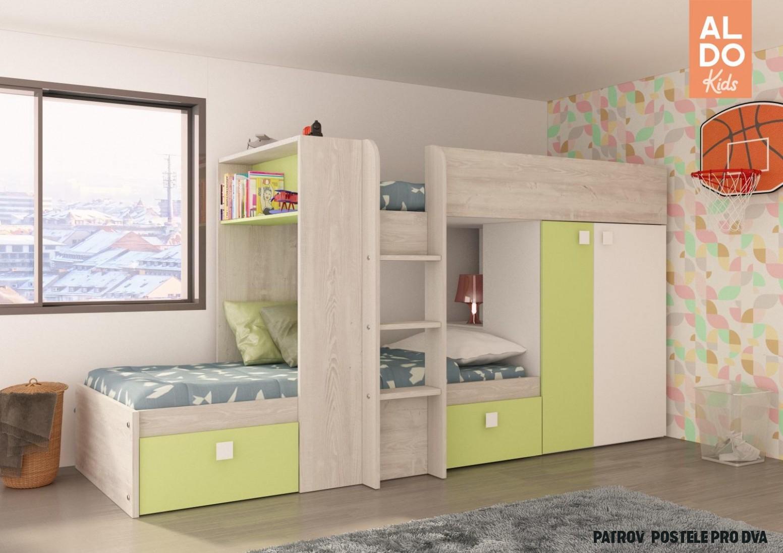 Patrová postel pro dvě děti Bo14 14x14 - světle zelená