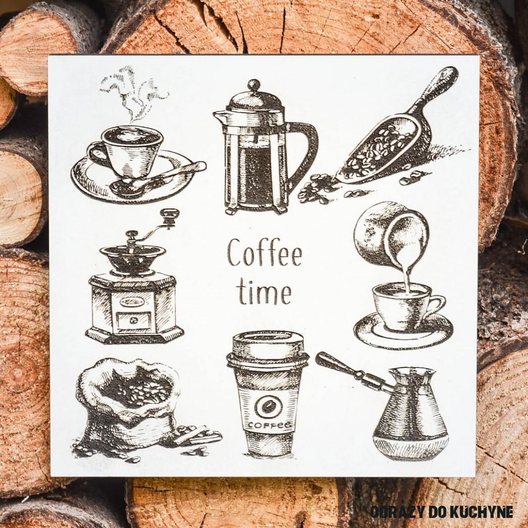 Drevený obraz do kuchyne - Káva