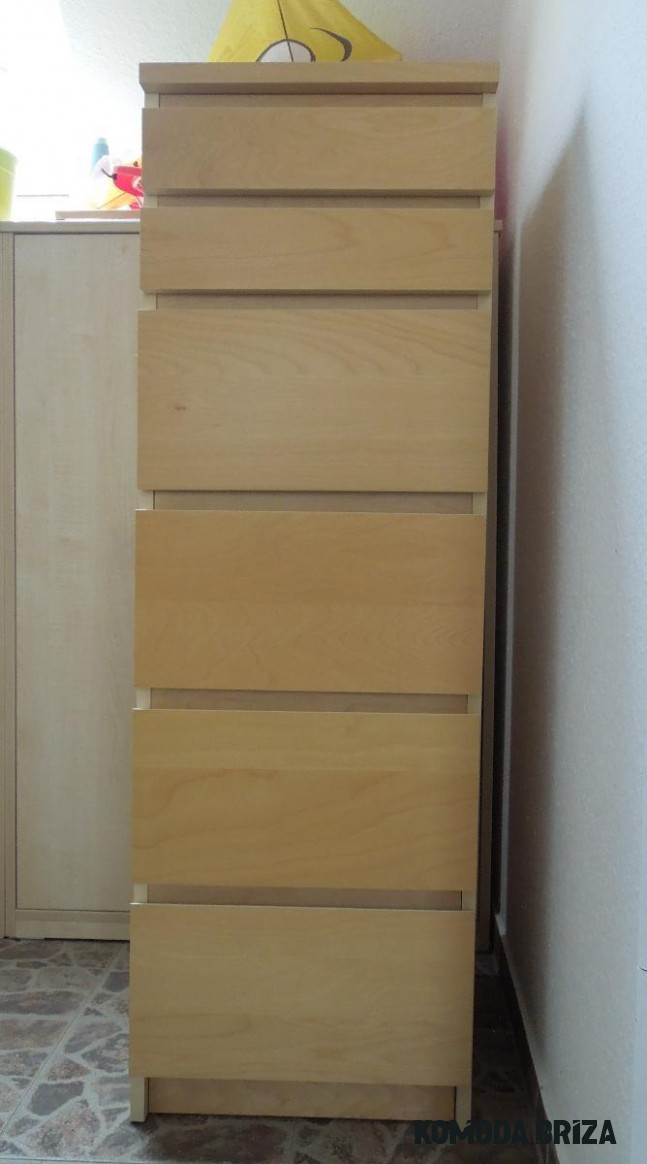Komoda MALM se zrcadlem, 20 zásuvek - bříza dýha - IKEA