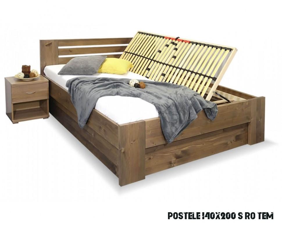 Zvýšená postel ROSA, s úložným prostorem, masiv smrk, 14x14