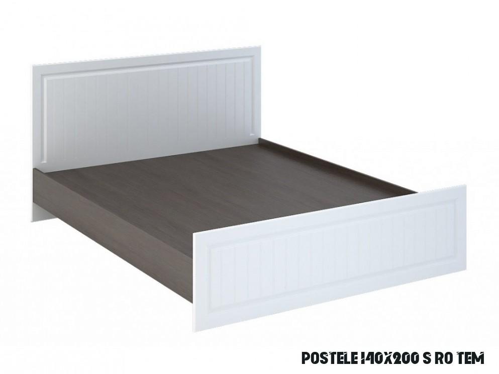 Manželská postel 14x14 cm s bílými čely a korpusem wenge s