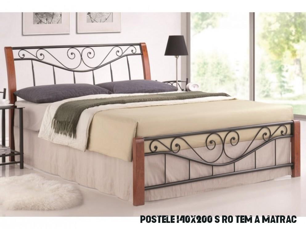 Manželská postel 19x19 cm v barvě třešeň s roštem KN19 - NAKUP