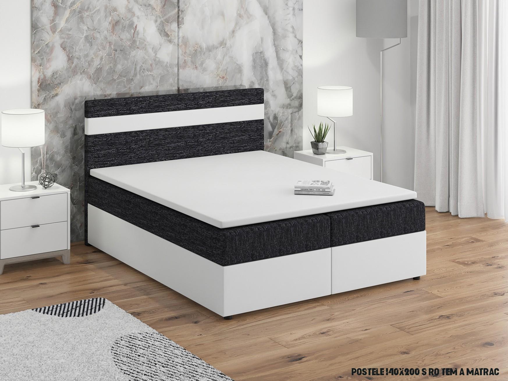Manželská postel Boxspring 19x19 cm Mimosa (s roštem a matrací) (bílá +  černá)  HezkýNábytek.cz