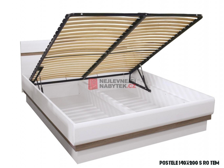 Postel ALBIREO s roštem a úložným prostorem 14, dub sonoma truflový/bílý  lesk