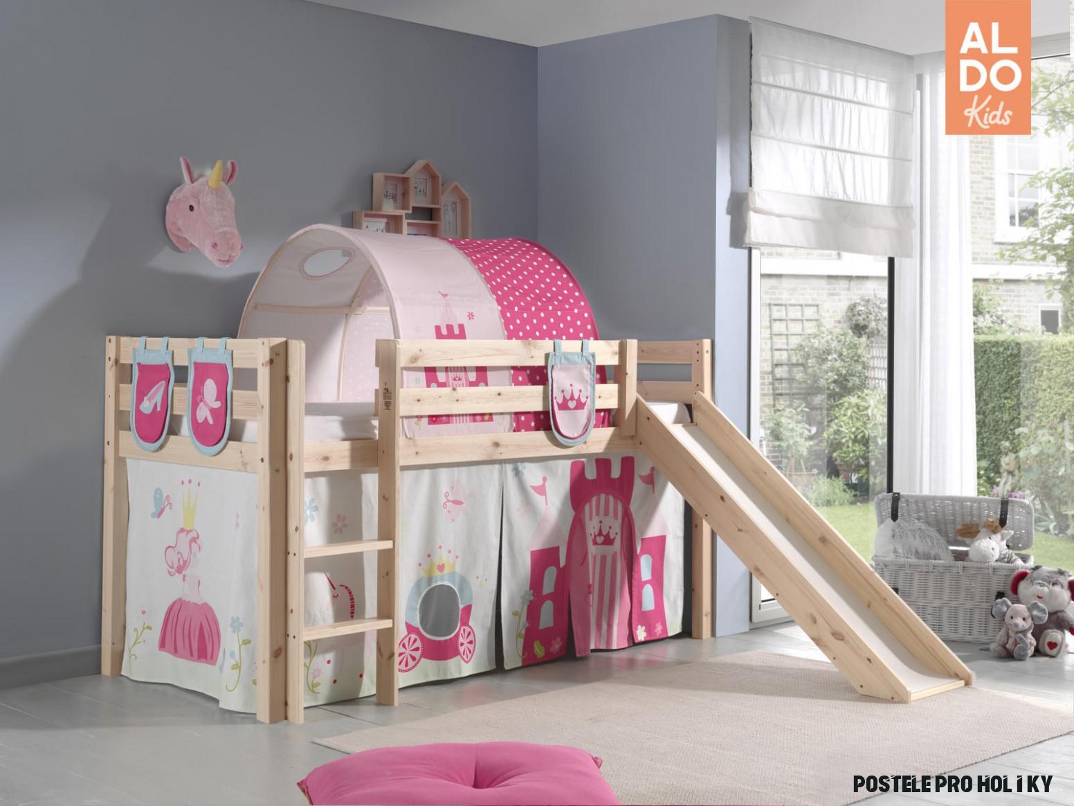 Dětská postel se skluzavkou pro holky Pino